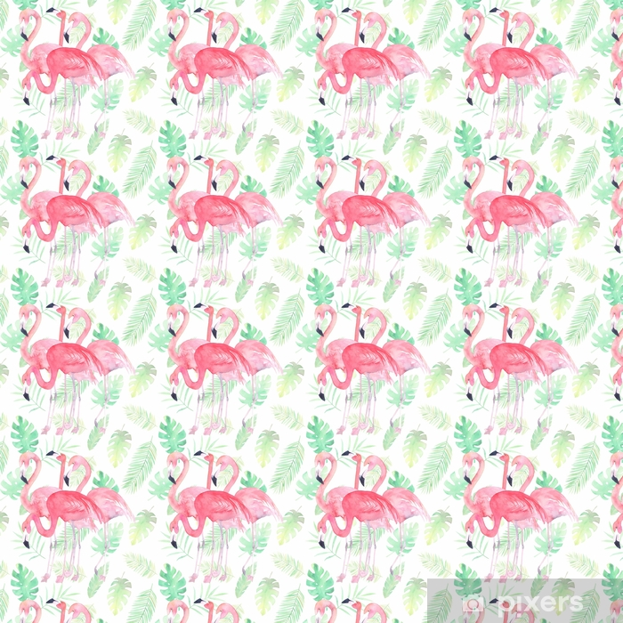 Watercolor seamless pattern with flamingo and tropic leaves Vinyl custom-made wallpaper - Graphic Resources