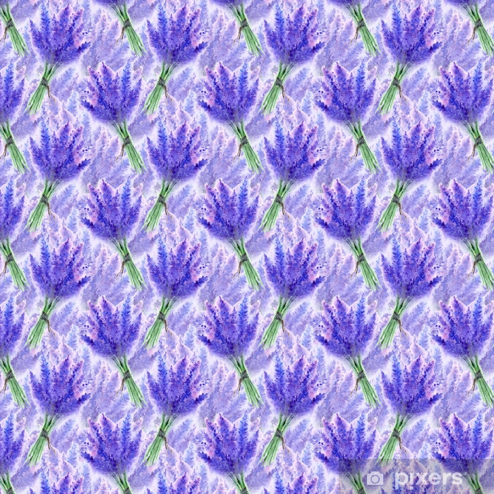 Papier peint vinyle sur mesure Aquarelle lavande fleur bouquet floral sans soudure texture de fond - Plantes et fleurs