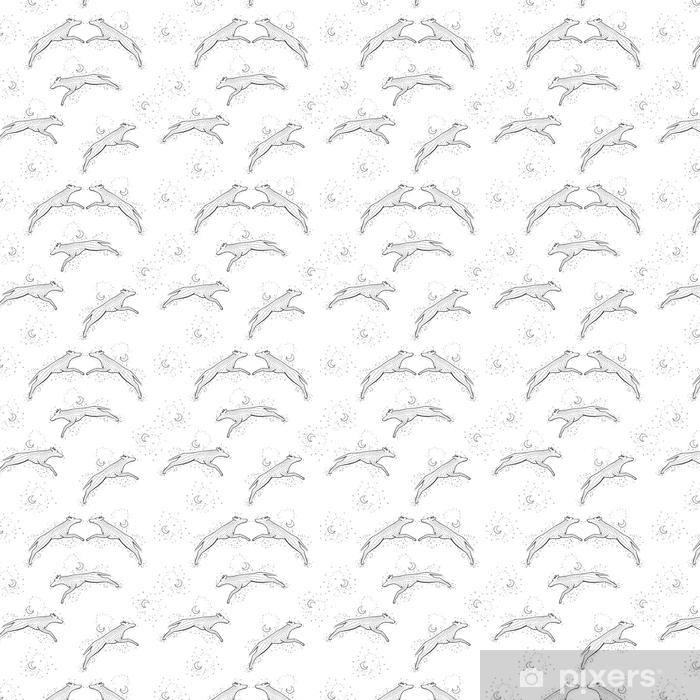 Papier peint vinyle sur mesure Zentangle sans soudure de fond avec woolf. illustration de l'enchevêtrement zen coyote vecteur. 2018 chien de nouvel an. - Animaux