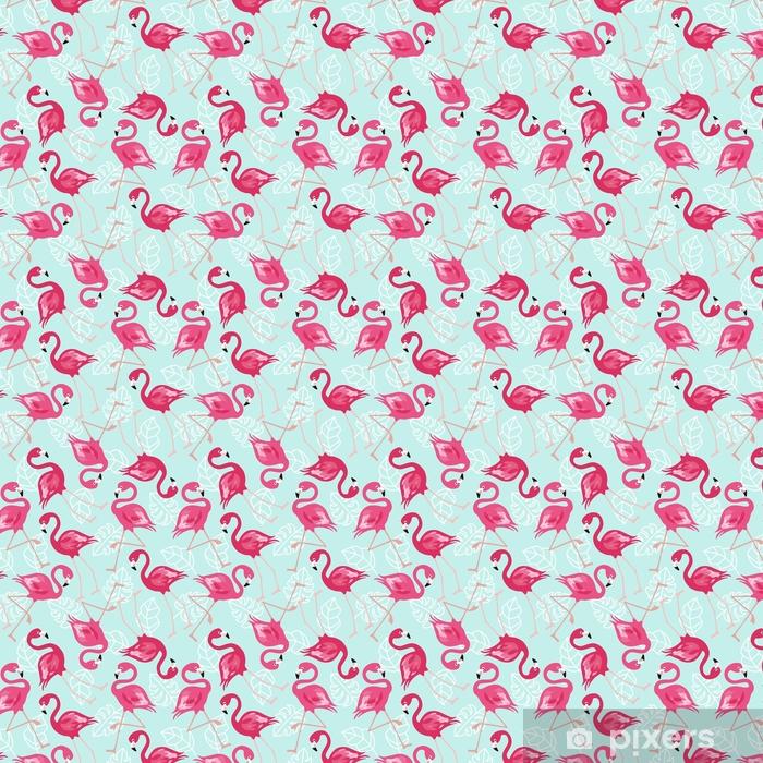 Vinyl behang, op maat gemaakt Flamingo naadloze patroon op mintgroene achtergrond. roze flamingo vector achtergrondontwerp voor stof en decor. vector trendy illustratie. - Grafische Bronnen
