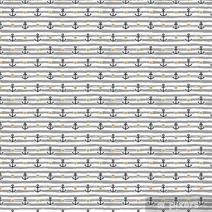 Papel pintado estándar a medida Patrón de rayas marino. anclajes y corazones - Recursos gráficos