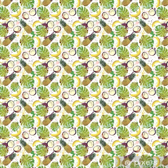 Papel pintado estándar a medida Patrones sin fisuras con frutas tropicales, hojas de palma y aerosoles - Recursos gráficos