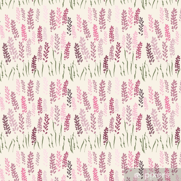 Vector floral seamless pattern with stylized lavender flowers and grass. Vinyl Wallpaper - Plants and Flowers