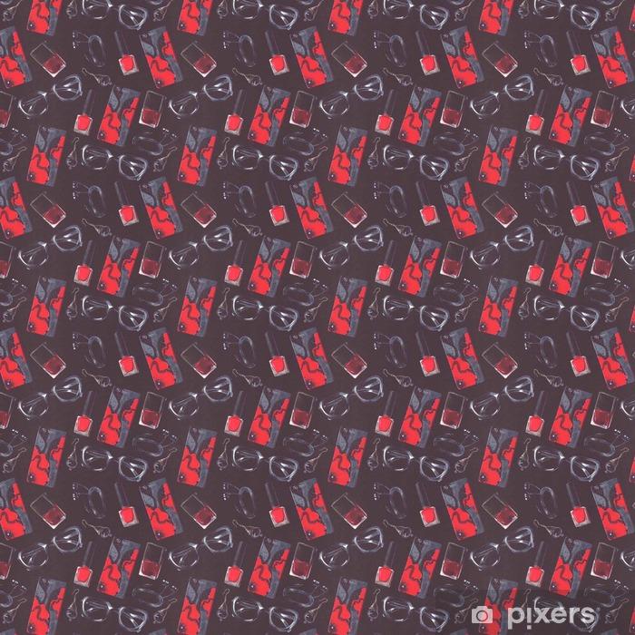 Papel pintado estándar a medida Ilustración oscura con el modelo inconsútil de la manera con los accesorios negros y rojos en diseño tileable. Mano dibujados gafas hipster, botella de esmalte de uñas, teléfono caso, auriculares y pendientes en negro - Lifestyle