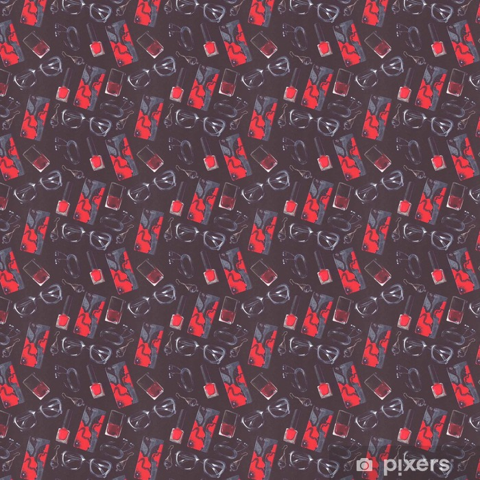 Vinylová tapeta na míru Tmavé ilustrace s módním bezešvým vzorem s černým a červeným doplňkem v dlaždicovém provedení. Ručně tažené brýle, lak na nehty, pouzdro na telefon, sluchátka a náušnice na černé barvě - životní styl