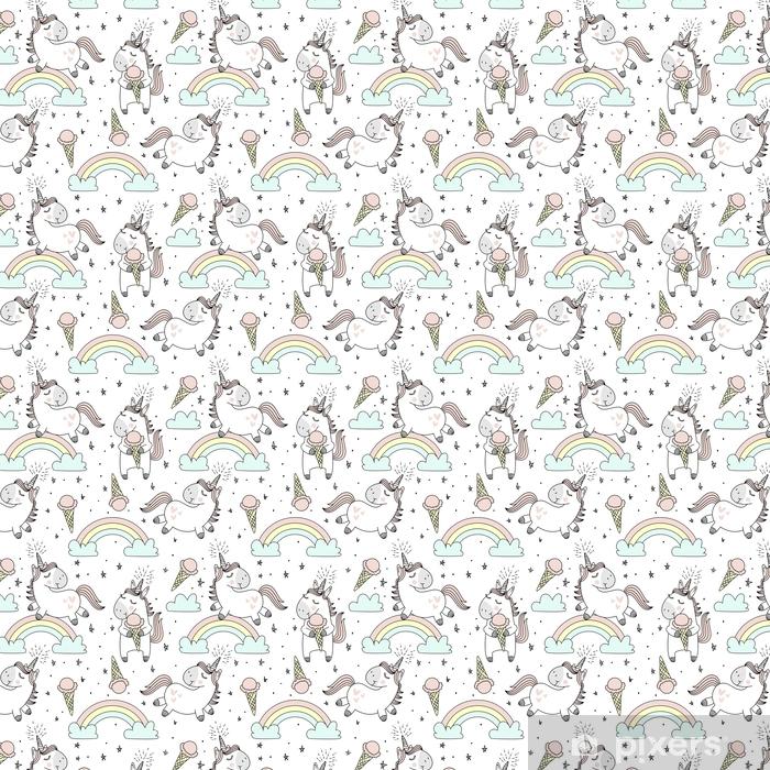 Zelfklevend behang, op maat gemaakt Vector patroon met schattige eenhoorns, wolken, regenboog en sterren. magische achtergrond met kleine eenhoorns. - Dieren