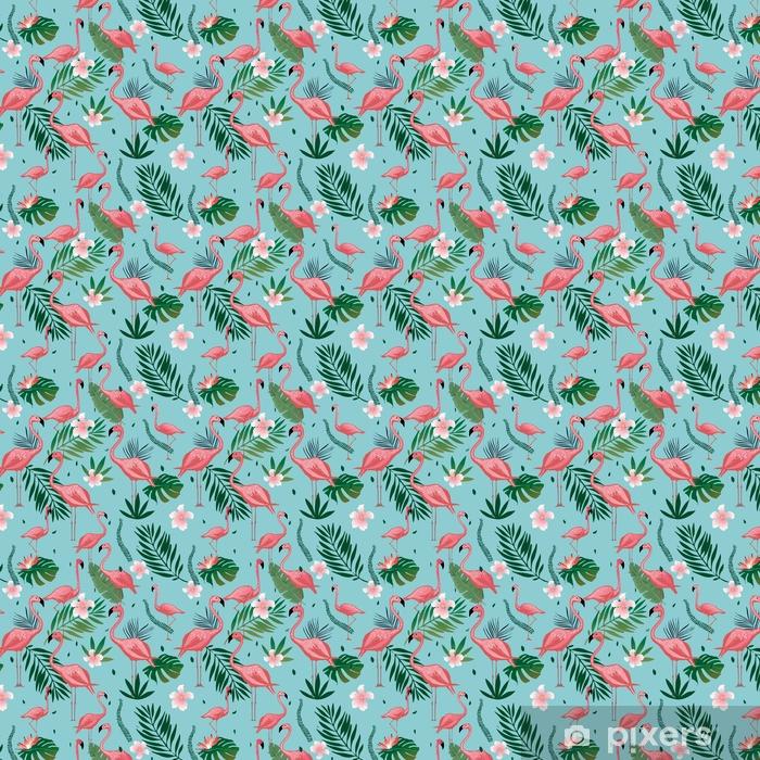 Vinyl behang, op maat gemaakt Roze flamingo naadloze patroon met tropische bladeren en bloemen. vector achtergrondontwerp met flamingo's voor behang, stof, textiel. - Grafische Bronnen