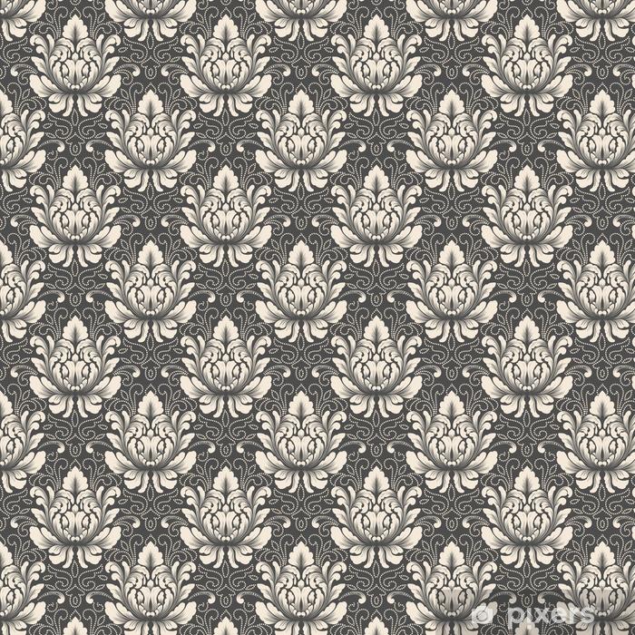 Vinyl behang, op maat gemaakt Vector damast naadloze patroonelement. klassieke luxe ouderwetse damast ornament, Koninklijke Victoriaanse naadloze textuur voor achtergronden, textiel, onmiddellijke verpakking. prachtige bloemen barokke sjabloon. - Grafische Bronnen