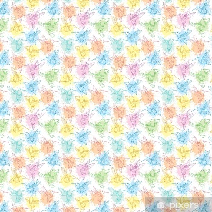 Vinyl behang, op maat gemaakt Vector naadloze patroon met vliegende kolibrie of colibri in contour stijl en vlekken in pastel kleur op de witte achtergrond. elegantie achtergrond met exotische tropische vogel voor zomer ontwerp. - Grafische Bronnen