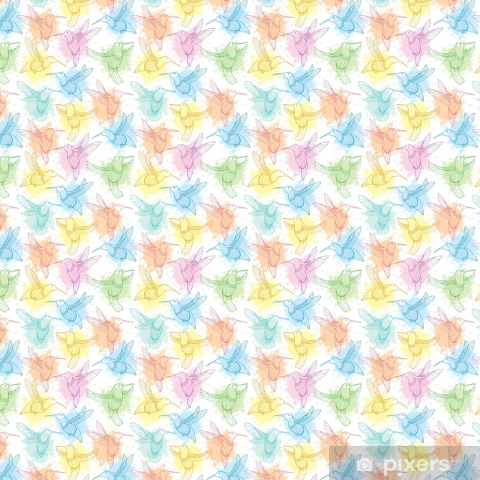 Papel pintado estándar a medida Vector de patrones sin fisuras con colibrí o colibrí volando en estilo de contorno y borrones en color pastel sobre el fondo blanco. Fondo de elegancia con aves tropicales exóticas para el diseño de verano. - Recursos gráficos