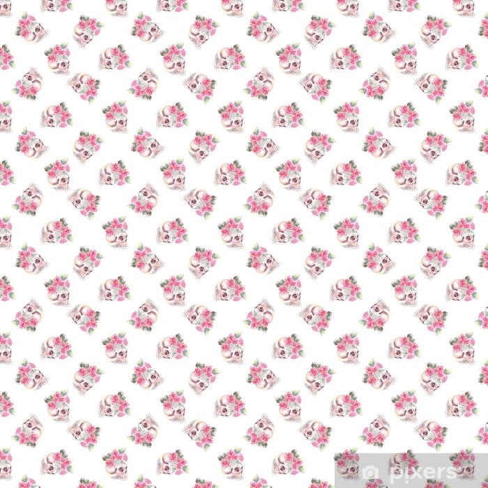 Tapeta na wymiar winylowa Wzór czaszki róż - Rośliny i kwiaty