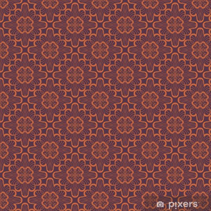 Tapeta na wymiar winylowa Bez szwu geometryczny wzór z brązowymi ozdobnymi kwadratami. Wektorowa grafika - Zasoby graficzne