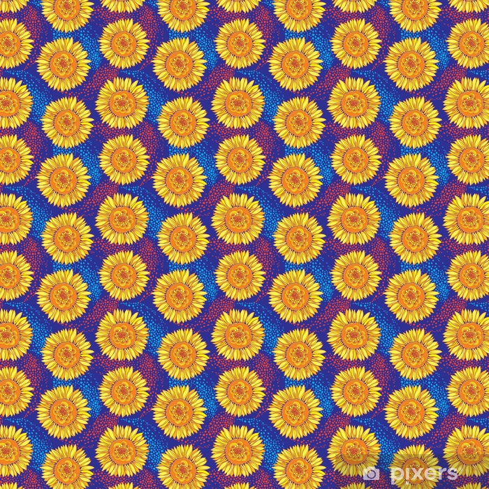 Vector Seamless Pattern With Outline Open Sunflower Or Helianthus Flower In Yellow And Orange On The Blue Background Floral Pattern With Ornate