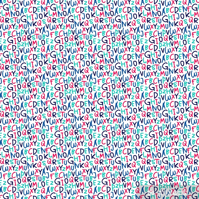 Papel pintado estándar a medida Patrón sin fisuras del alfabeto dibujado a mano - Recursos gráficos