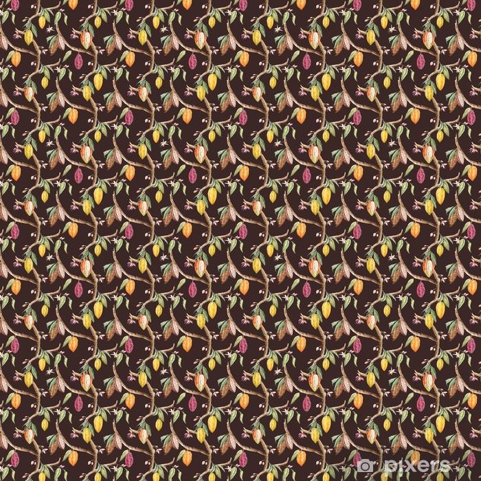 Vinyl behang, op maat gemaakt Aquarel cacao vector patroon - Bloemen en Planten