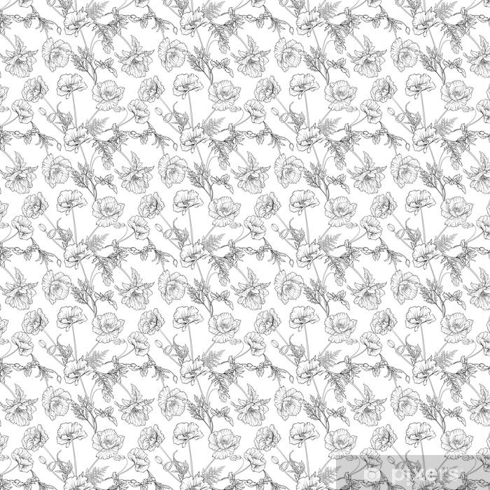 Tapeta Wzór Z Kwiatami Maku W Botanicznym Stylu Vintage Zarys