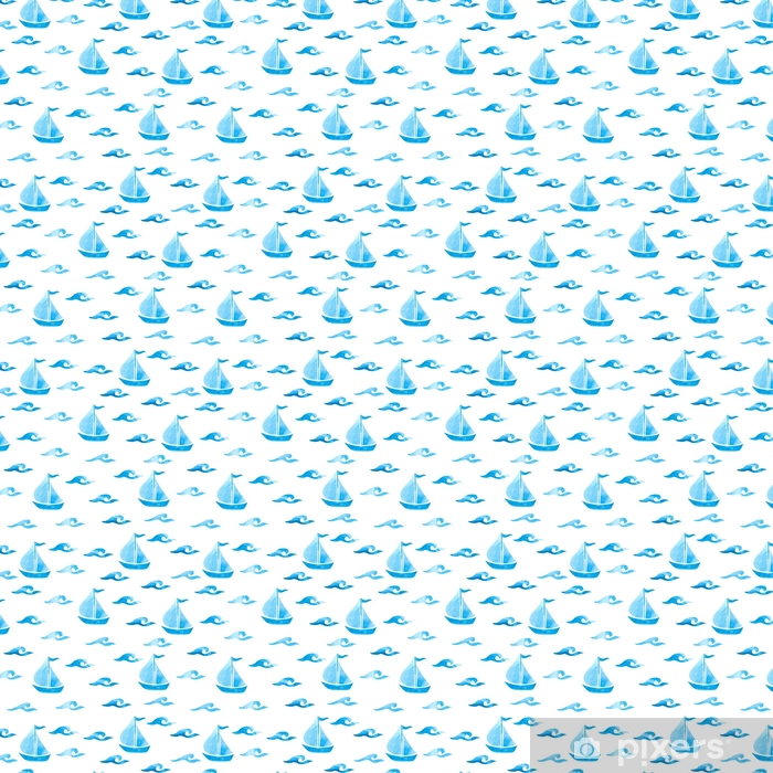 Seamless sea pattern with blue watercolor waves and boats. Vector marine background. Vinyl custom-made wallpaper - Landscapes