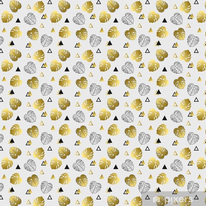 Zelfklevend behang, op maat gemaakt Naadloze patroon met bladeren en driehoeken. mooi patroon met gouden en zwarte voorwerpen. - Grafische Bronnen
