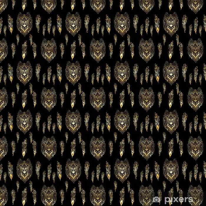 Carta da parati in vinile su misura Seamless con lupo e piume in stile etnico - linea d'oro arte su sfondo nero - Animali