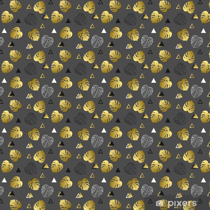 Vinyl behang, op maat gemaakt Naadloze patroon met bladeren en driehoeken. mooi patroon met gouden en zwarte voorwerpen. - Grafische Bronnen