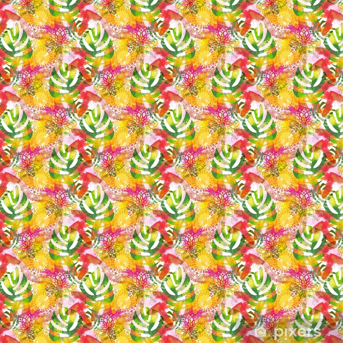 Seamless pattern with leaves and mandalas. Tropical background with watercolor effect. Textile print for bed linen, jacket, package design, fabric and fashion concepts Vinyl custom-made wallpaper - Graphic Resources