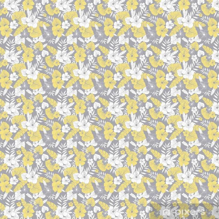 Carta da Parati a Motivi Vector giallo e grigio disegno tropicale estate  hawaiano modello senza saldatura con piante tropicali 8bdc6d356396
