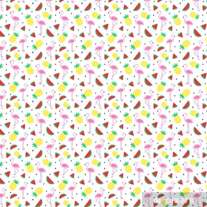 Tapeta na wymiar winylowa Wektor bez szwu tropikalnych szalonych kolorów wzór. ananas, flamingi, arbuz. bardzo jasny kolorowy kreskówka tło (tapeta, tkanina). dziecinny styl, abstrakcyjne pop-art - Zwierzęta