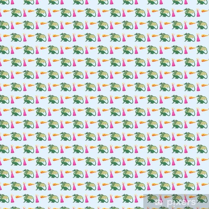 Fantasy knight dragon flying seamless pattern mythology monster background vector illustration. Vinyl custom-made wallpaper - Hobbies and Leisure