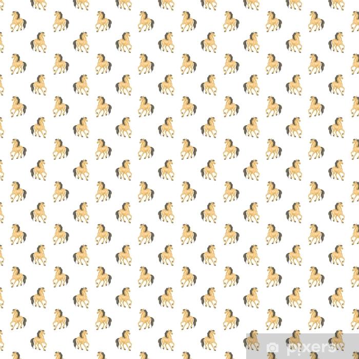 Vinylová tapeta na míru Bezproblémový vzorek s realistickým obrazem krásných koní. vektorové pozadí. - Grafika