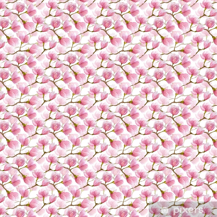 Zelfklevend behang, op maat gemaakt Lente aquarel magnolia naadloze patroon. hand getekend ontwerp voor textiel, print, inpakpapier. - Grafische Bronnen