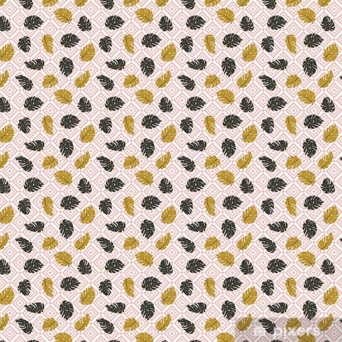 Vinyl behang, op maat gemaakt Exotische bladeren en geometrische ornament. naadloze hand getekend tropisch patroon. vector achtergrond met monstera bladeren en rhombus. - Grafische Bronnen