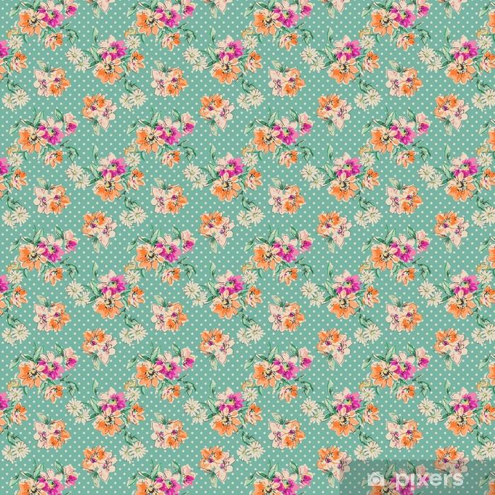 Tapeta na wymiar winylowa Retro ręcznie rysowane kwiaty na tle polka dot - bezszwowe tło - Zasoby graficzne