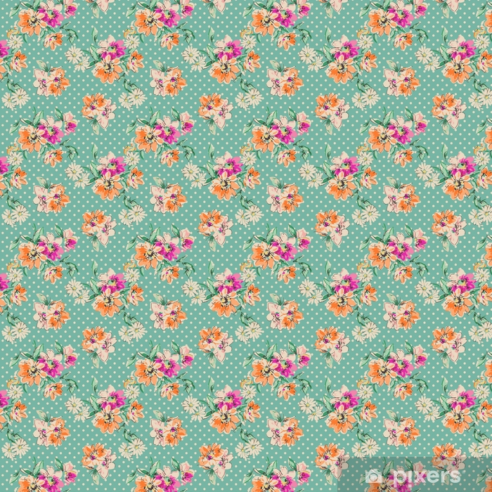 retro hand drawn flowers over polka dot background - seamless background Vinyl Custom-made Wallpaper - Graphic Resources