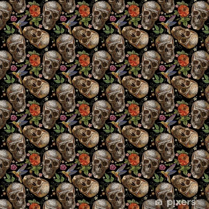 01d20ac1cf1c Tapeta Vyšívání lebky a růží