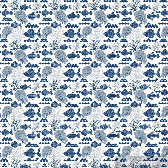 Zelfklevend behang, op maat gemaakt Onderwater leven. naadloze vector patroon met handgetekende vis. mariene cartoon achtergrond. - Dieren