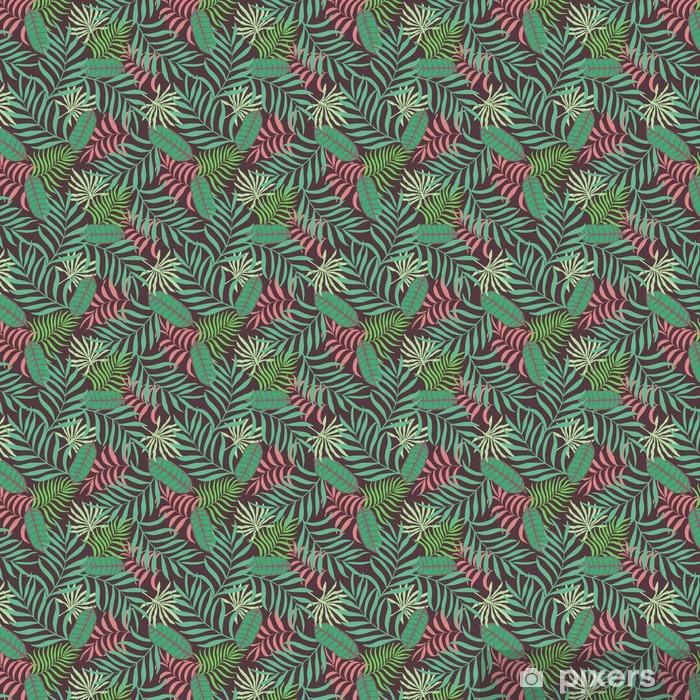Tapeta na wymiar winylowa Tropikalne tło z liści palmowych. Bez szwu kwiatowy wzór - Rośliny i kwiaty