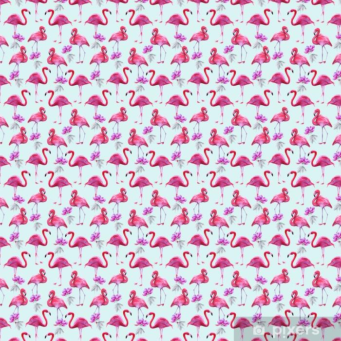 Vinyl behang, op maat gemaakt Achtergrond van roze flamingo's. naadloos patroon. - Hobby's en Vrije tijd