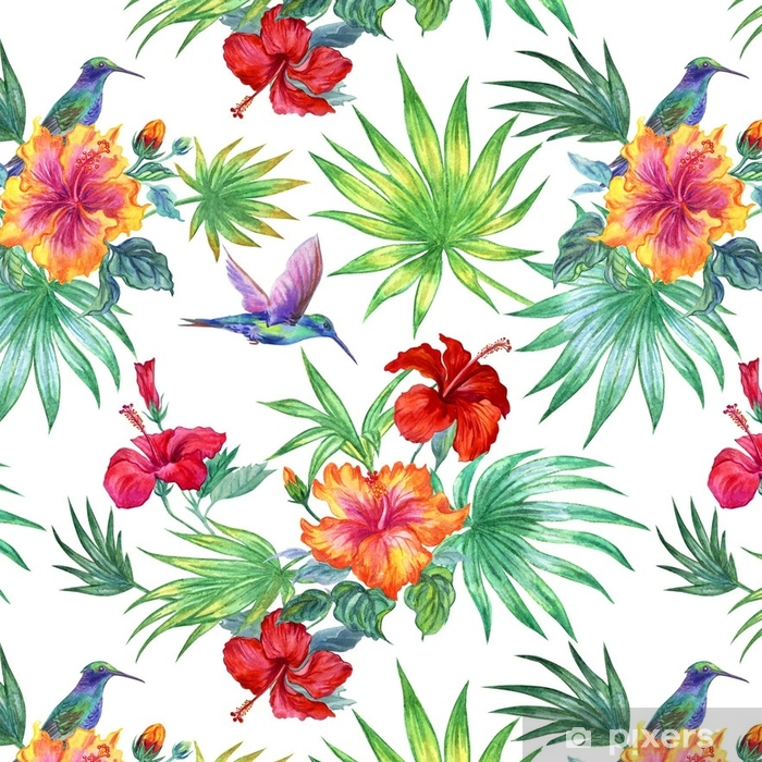 Seamless Watercolor Pattern With A Hummingbird And Hibiscus On A