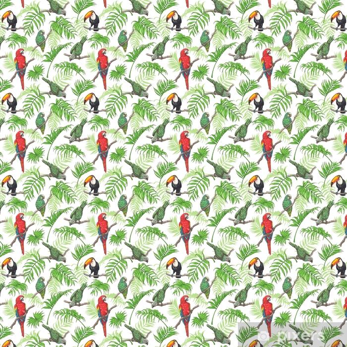 Papel pintado estándar a medida Patrón de loros, tucán y hojas de palma - Animales