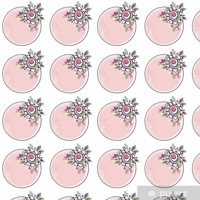 Vinylová tapeta na míru Ručně nakreslit květiny v kombinaci s kruhovou rámem - Květiny
