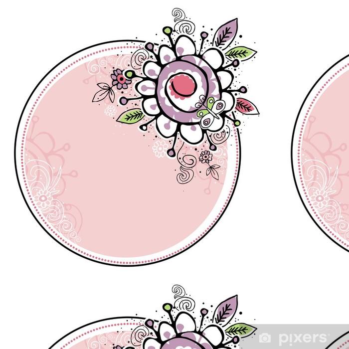 Vinylová Tapeta Ručně nakreslit květiny v kombinaci s kruhovou rámem - Květiny