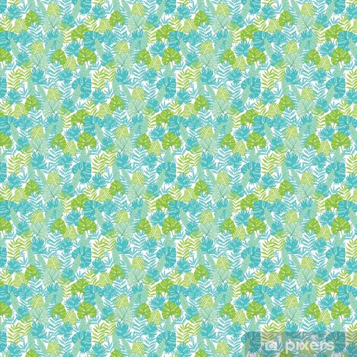 Carta da parati in vinile su misura Vettore blu verde foglie tropicali estate modello hawaiano senza soluzione di continuità con piante tropicali e foglie su sfondo blu navy. ideale per tessuti a tema vacanze, carta da parati, imballaggi. - Piante & Fiori