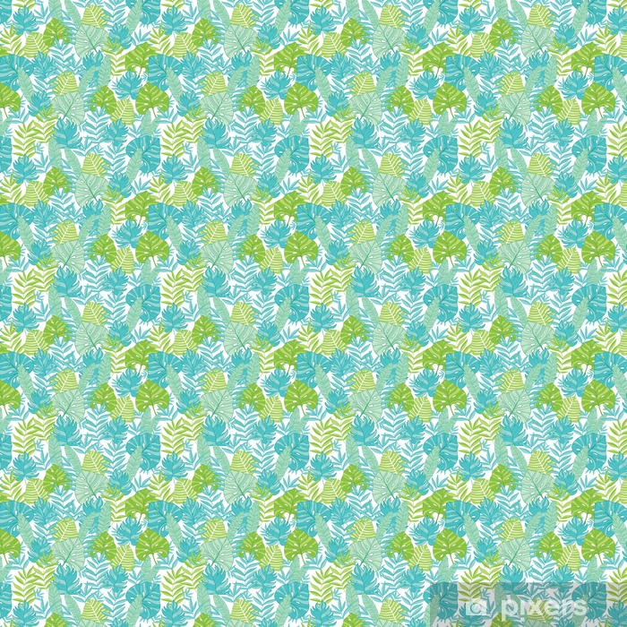Papier peint autocollant sur mesure Vecteur bleu vert feuilles tropicales hawaiian modèle sans couture avec des plantes tropicales et feuilles sur fond bleu marine. Idéal pour les vacances sur le thème du tissu, papier peint, emballage. - Plantes et fleurs