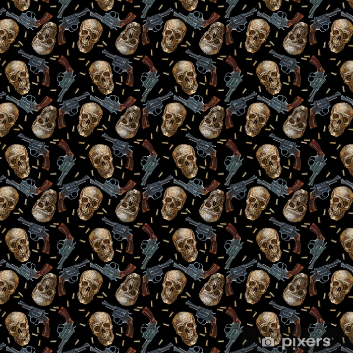 Tapeta na wymiar winylowa Hafty czaszki i pistolety wzór. dziki zachód hafty stare rewolwery i ludzkie czaszki, gangster gotyckie tło - Hobby i rozrywka