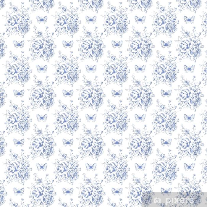 Hermoso patrón transparente con motivies florales y mariposas en estilo francés 1
