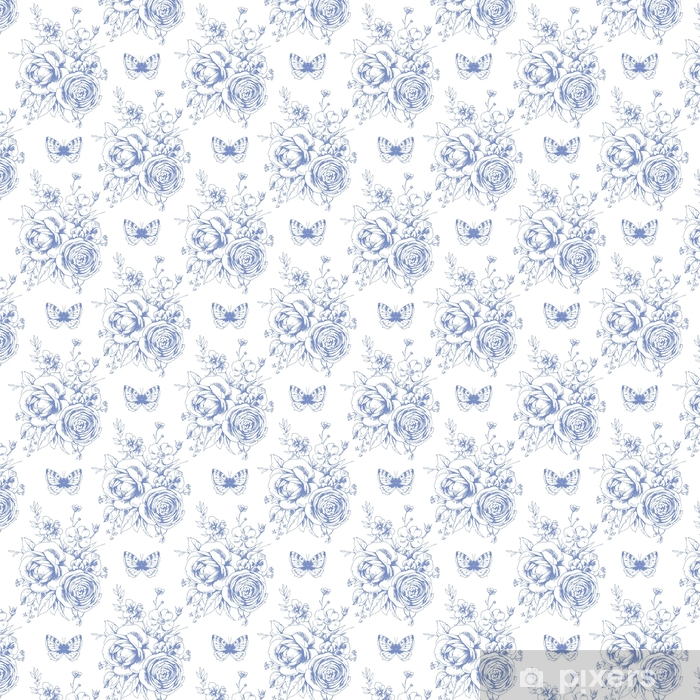 Tapeta na wymiar winylowa Bezszwowy piękny wzór z kwiecistymi motywami i motylami w francuskim stylu 1 - Zasoby graficzne