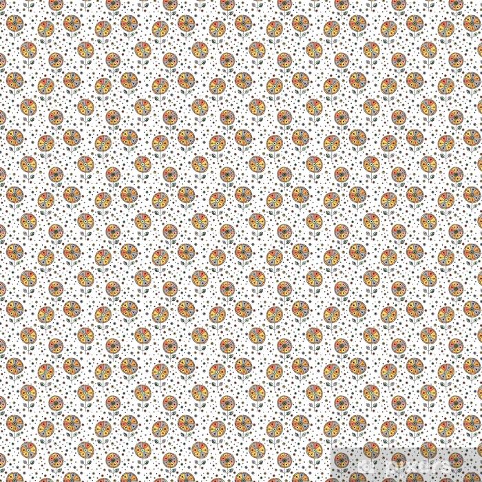 Vinyl behang, op maat gemaakt Naadloze vector hand getrokken doodle kinderlijke bloemmotief. achtergrond met kinderachtige bloemen, bladeren. decoratieve leuke grafische lijntekening illustratie. afdrukken voor verpakking, achtergrond, stof, decor - Grafische Bronnen