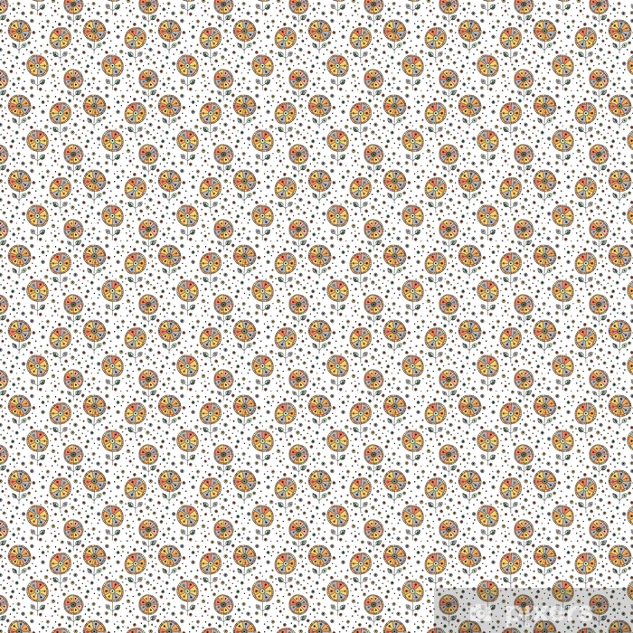 Papel pintado estándar a medida Vector inconsútil dibujado a mano doodle estampado de flores infantil. fondo con flores infantiles, hojas. Ilustración gráfica decorativa lindo dibujo lineal. imprimir para envolver, fondo, tela, decoración - Recursos gráficos