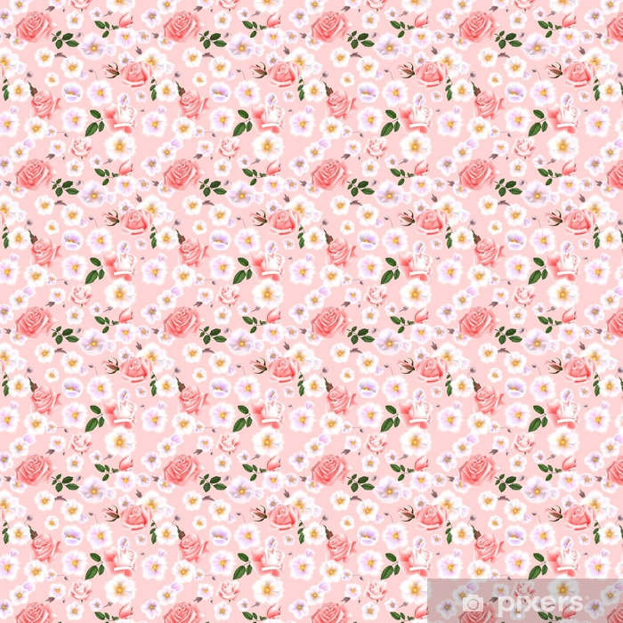 Roses seamless pattern. A bouquet of delicate flowers and twigs. Vector Illustration EPS10 Self-adhesive custom-made wallpaper - Plants and Flowers