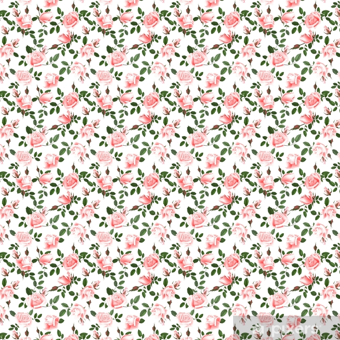 Roses seamless pattern. Self-adhesive custom-made wallpaper - Plants and Flowers
